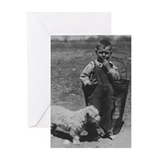 BABY BOY and DOG vintage photo print greeting card