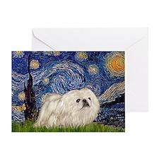 Starry Night white Peke Greeting Card