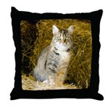 Barn Cat (watercolor) Throw Pillow