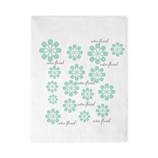 Retro Floral Fashion Mint Green White Twin Duvet