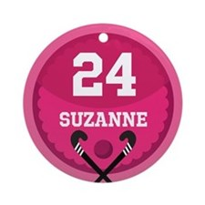Field Hockey Personalized Girls Ornament (Round)