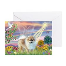 Cloud Angel & Pomeranian Greeting Card