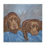 Sussex Spaniel Puppies Painti Tile Coaster