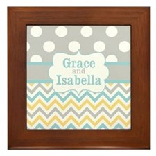 Gray Yellow Chevron Dots Personalized Framed Tile