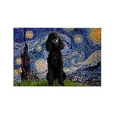 Starry Night Black Poodle Rectangle Magnet