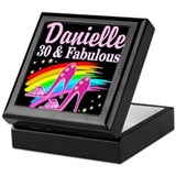 30 and fabulous add a name Square Keepsake Boxes