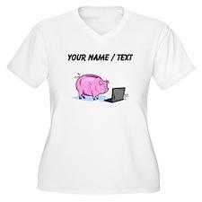 Piggy Bank And Laptop (Custom) Plus Size T-Shirt