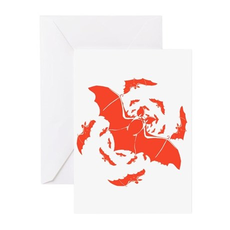 Orange Bats Greeting Cards (Pk of 10)