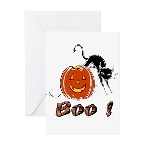 Halloween Pumpkin and Cat Greeting Card