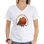 Gaelic Pumpkin Scene Women's V-Neck T-Shirt