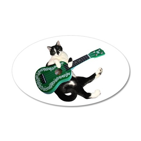 Cat Ukulele 20x12 Oval Wall Decal