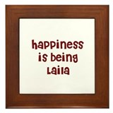 happiness is being Laila Framed Tile