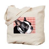 Red Plaid Boston Terrier Tote Bag