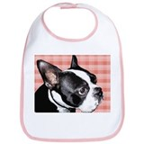 Red Plaid Boston Terrier Bib