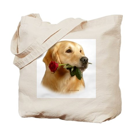 Golden Retriever (Male) and Red Tote Bag