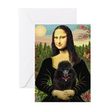 Mona Lisa (new) & Black Poodle Greeting Card