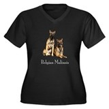 Malinois Pair Wm's Plus Size V-Neck Dark T-Shirt