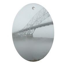 Bourne Bridge in Fog Oval Ornament