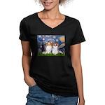 Starry Night & Papillon Women's V-Neck Dark T-Shir