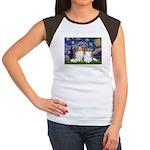 Starry Night & Papillon Women's Cap Sleeve T-Shirt