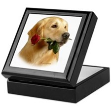Golden Retriever (Male) and Red Keepsake Box