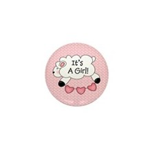It's a Girl Lamb Baby Mini Button (10 pack)