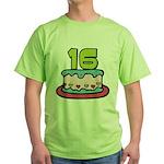 16 Year Old Birthday Cake Green T-Shirt