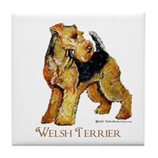 Welsh Terrier Design Tile Coaster