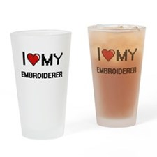 I love my Embroiderer Drinking Glass
