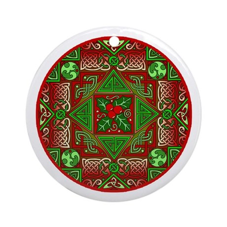 Celtic Holly Labyrinth Ornament (Round)