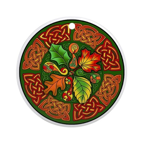 Celtic Autumn Leaves Ornament (Round)
