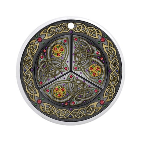 Celtic Bejeweled Shield Ornament (Round)