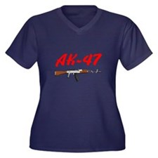 Ak-47 Women's Plus Size V-Neck Dark T-Shirt