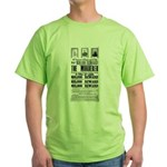 Wanted John Wilkes Booth Green T-Shirt