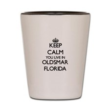 Keep calm you live in Oldsmar Florida Shot Glass
