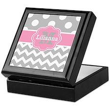 Gray Pink Chevron Dots Monogram Keepsake Box