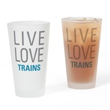Live Love Trains Drinking Glass
