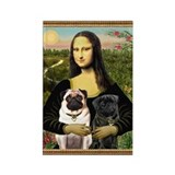 Mona &amp; her 2 Pugs Rectangle Magnet
