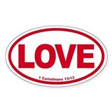 Love Oval red Oval Decal