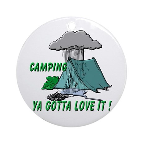 Camping in the Rain Ornament (Round)