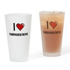 I love Embroiderers Drinking Glass