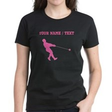 Pink Hammer Throw Silhouette (Custom) T-Shirt