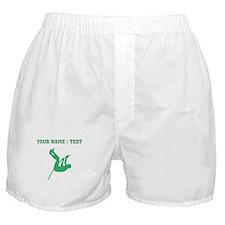 Green Pole Vaulter Silhouette (Custom) Boxer Short