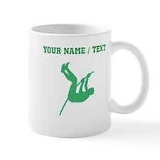 Green Pole Vaulter Silhouette (Custom) Mugs