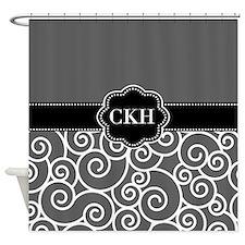 Gray Black Swirls Monogram Shower Curtain