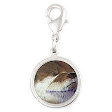 Sea Otter Silver Round Charm