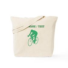 Green Cyclist Silhouette (Custom) Tote Bag