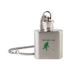 Green Hockey Player (Custom) Flask Necklace