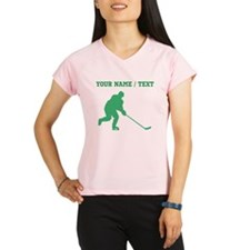 Green Hockey Player (Custom) Performance Dry T-Shi