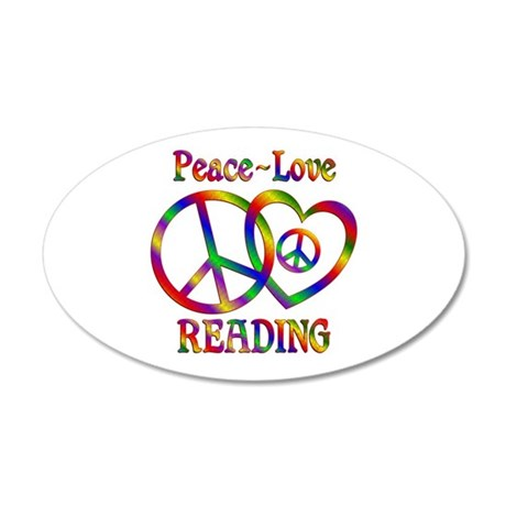 Peace Love Reading 35x21 Oval Wall Decal